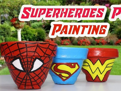 Diy Superhero Pot Painting | How to paint a pot at home | Pot Painting for kids