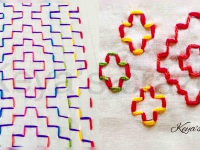 2 ways of doing holebein stitch | Square stitch | Keya's craze | hand embroidery | 97