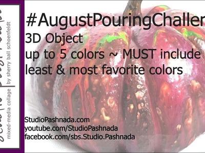 Acrylic Pour 64 ~ #AugustPouringChallenge ~ fluid paint pouring on a 3D object