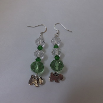 Crystal and bead dangle earrings with dog charm.