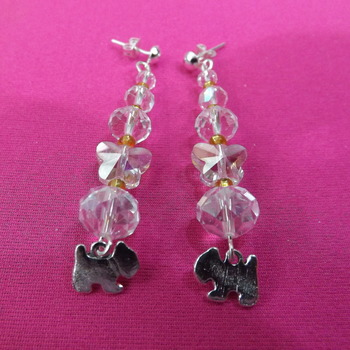 Crystal Butterfly Dangle Earrings with dog charm