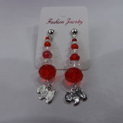 Crystal Dangle Earrings with dog charm