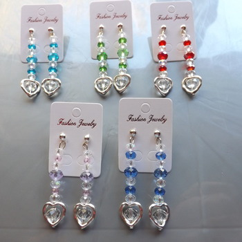 Crystal Heart Dangle Earrings for pierced ears. Choice of any colours.