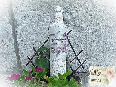 Decoupage granit effect bottle