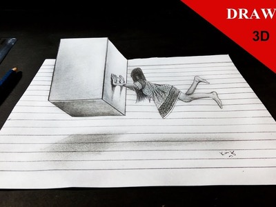 Floating 3D Girl and Cube on Line Paper Art  - Kaif Sketch