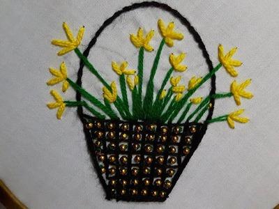 Hand embroidery : basket new design flower #2 design stitch by hand basket