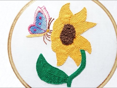 Hand Embroidery Beautiful Design Of Sunflower