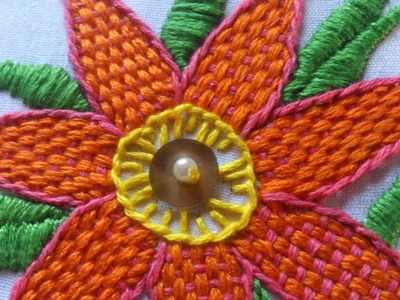 Hand embroidery design. Hand embroidery stitches for beginners. Checkered flower stitch.