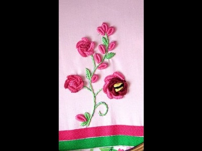Hand Embroidery Designs, CAST ON STITCH FlOWER BY EASY LEARNING BY ATIB