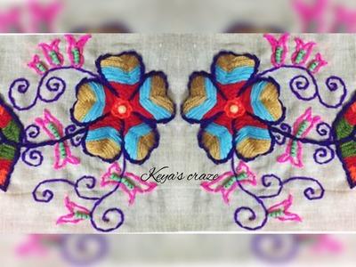 Hand embroidery flower design for beginners | Multicolour raised fishbone flower |Keya's craze | 151