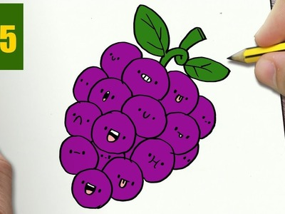 HOW TO DRAW A GRAPE CUTE, Easy step by step drawing lessons for kids