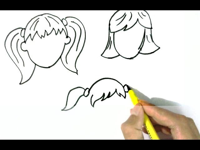 How To Draw Girls Hairstyles 1 Easy Steps For Children Kids Beginners