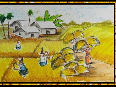 How to Draw Village Scenery of Autumn Season Farmers Harvesting Easy Drawing Step by Step Pastel Art