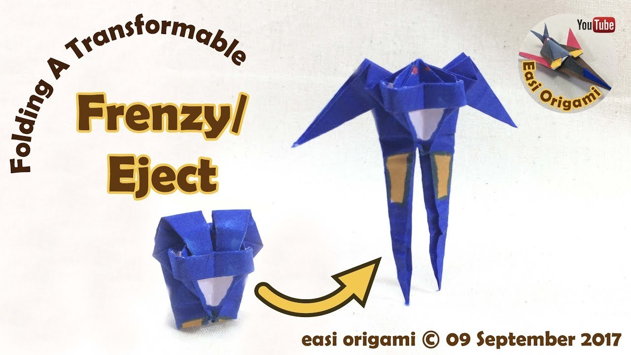 How to make a Papercraft, Origami Frenzy. Eject (requires 1 straight cut)