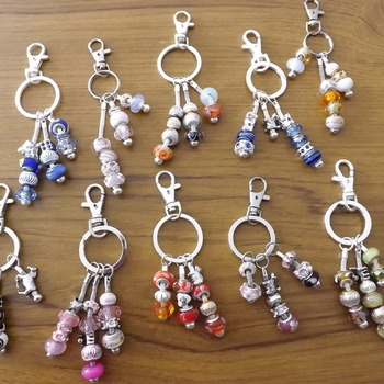 Key ring or Bag Charm with european style beads