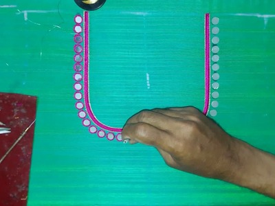 Making of Simple mirror work neck line - Hand embroidery making