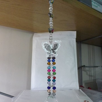 Multicoloured Genuine Crystal Sun Catcher with Butterfly. 12 inch with hanger