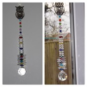 Multicoloured Genuine Crystal Sun Catcher with Owl. Xlarge