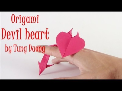 Origami Devil heart easy - Yakomoga Origami easy tutorial