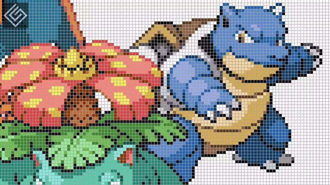 Pixel Art All Starters Pokemon Generation 1 Labyrinth Draw
