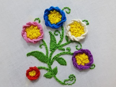 Simple cast on stitch flower stitch :hand embroidery