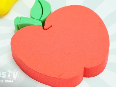 DIY How to Make Kinetic Sand Cake Red Apple - Learn Colors Video For Children