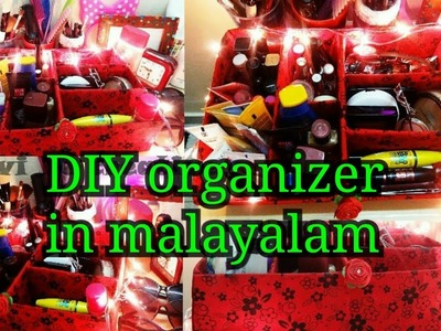 DIY multipurpose organizer in malayalam|Easy organizer for makeup & stationary|Recycle old cardboard