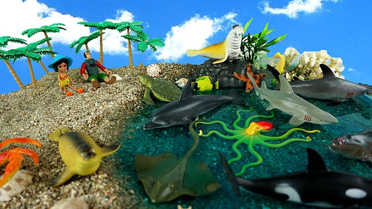Learn Learning Sea Animals - DIY Slime Beach for Kids Sharks, Seal, Fish - Learn Dinosaurs Names