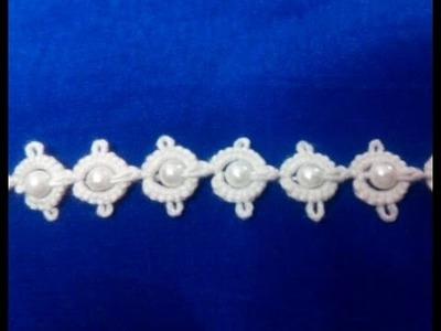 58-Shuttle tatting#Lesson12,adding beads to the lace(Hindi.Urdu)