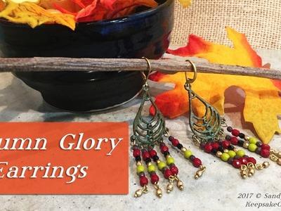 Autumn Glory Earrings-Czech Glass Fire Polish Beads Jewelry Tutorial