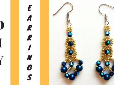 Beaded earrings. DIY Pearl Earrings with bicone beads-Beginners tutorial