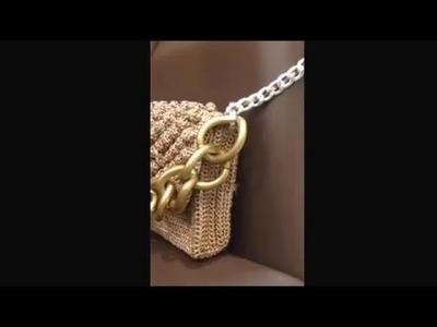 Borsa pochette uncinetto nocciolina https:.www.facebook.com.Disfarecreare bag&bijuox