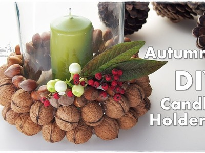 Cheap DIY Fall Candle Holder Decoration for Autumn ♡ Maremi's Small Art ♡