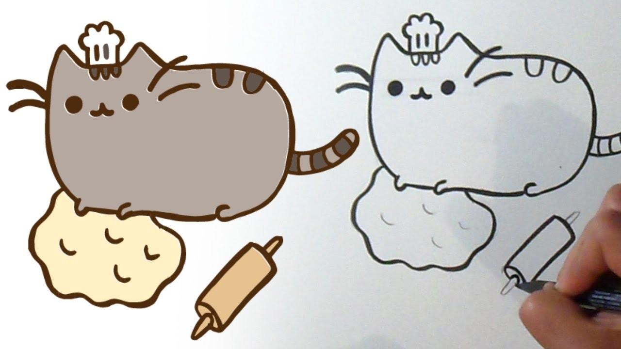 Cómo Dibujar Gatito Pusheen Panadero Kawaii