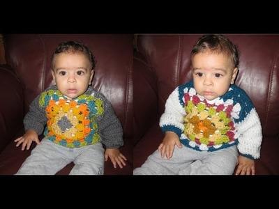 Crochet abrigo de niño de 6 a 12 meses