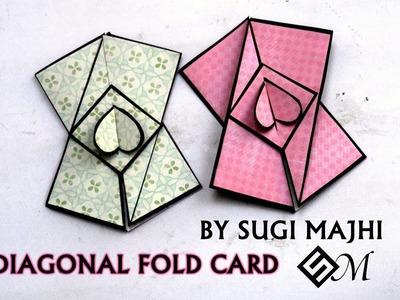DIAGONAL FOLD CARD TUTORIAL BY SUGI MAJHI
