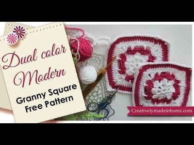 Dual color Granny square free pattern