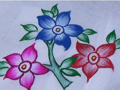 Fabric painting.Single Shade sari design