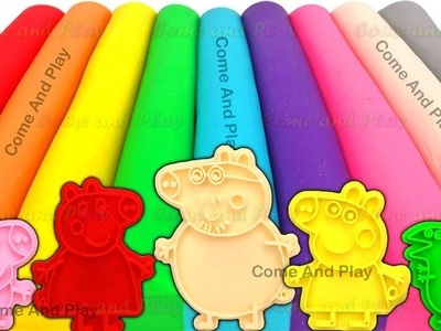 Learn Colors Play Doh Modelling Clay Peppa Pig Family M&M Candy Ice Cream Surprise Toys Fun for Kids