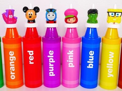 Mickey Mouse Spongebob Hulk Thomas Superhero BIG Crayons Learn Colors Toys for Kids