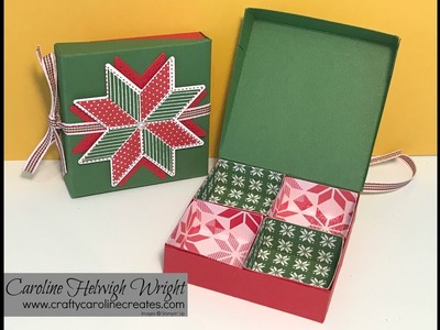 Quilted Christmas Partitioned Gift Box - video tutorial with Stampin' Up Products