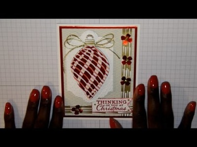 Stampin Up Red Foil Delicate Ornament Christmas Card