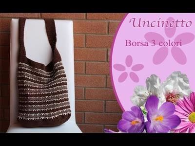 Uncinetto: borsa 3 colori a tracolla-How to do shoulder bag