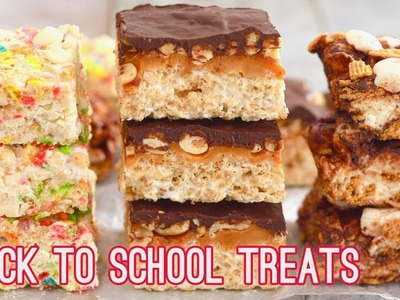 3 No-Bake Rice Krispies Treats: Snicker's, S'mores & Funfetti (Back to School Snacks)