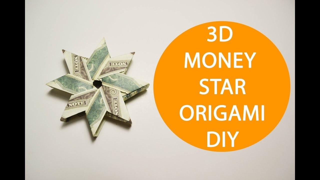 3d money star origami dollar folded tutorial diy gift