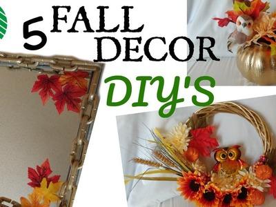 5 DOLLAR TREE FALL DECOR IDEAS!!! CHAIN LINK MIRROR, WREATH &MORE