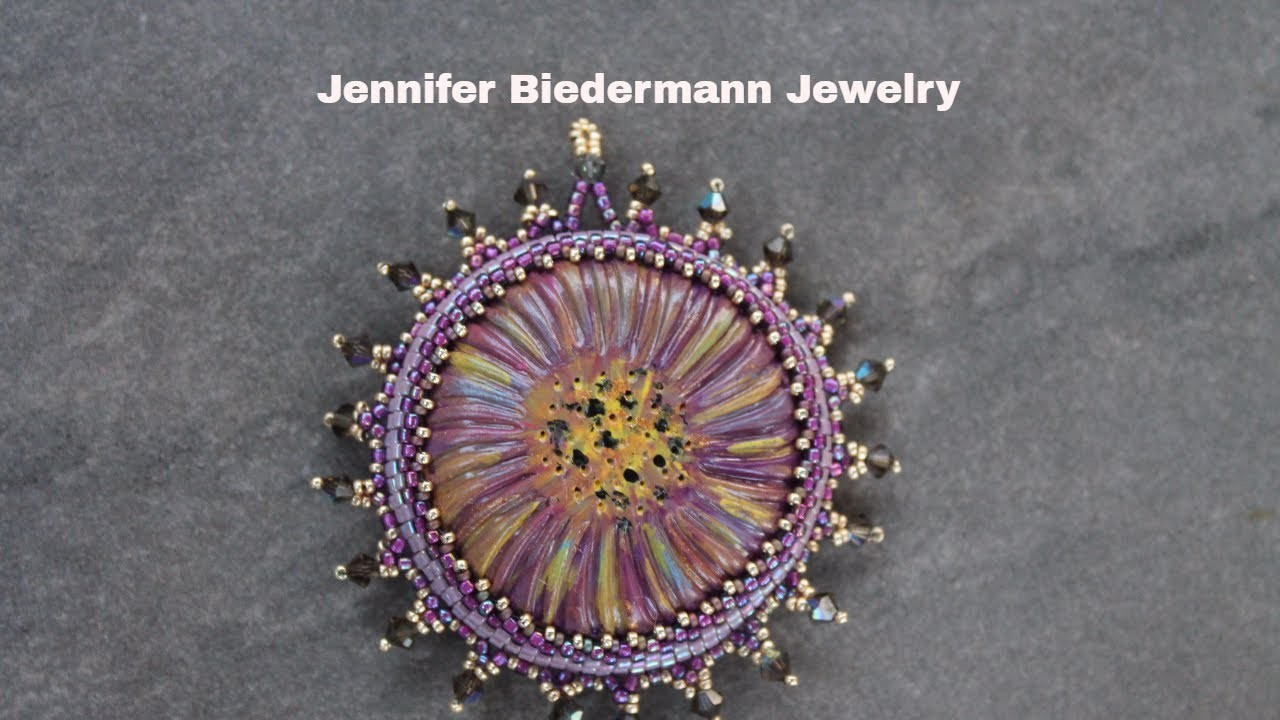 Beaded bezel flower pendant for any size focal piece
