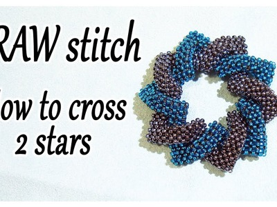 CRAW stitch Bead - How to cross 2 shapes together - Cubic Right Angle Weave Tutorial with beads