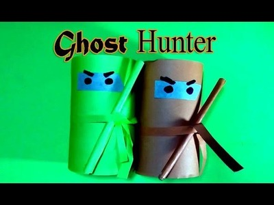 Halloween crafts with toilet paper rolls | Paper made Ghost Hunter idea