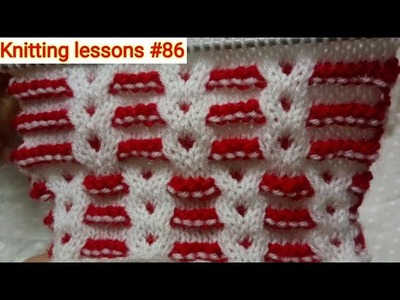 """How to knit    Easy """"Baby Cable"""" Design    Double Color Cable pattern    Design by Knitting lessons"""
